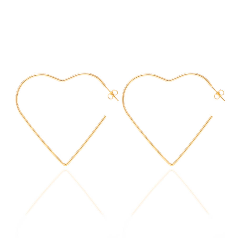 Brinco de Argola com Formato de Coração G Folheado em Ouro 18k