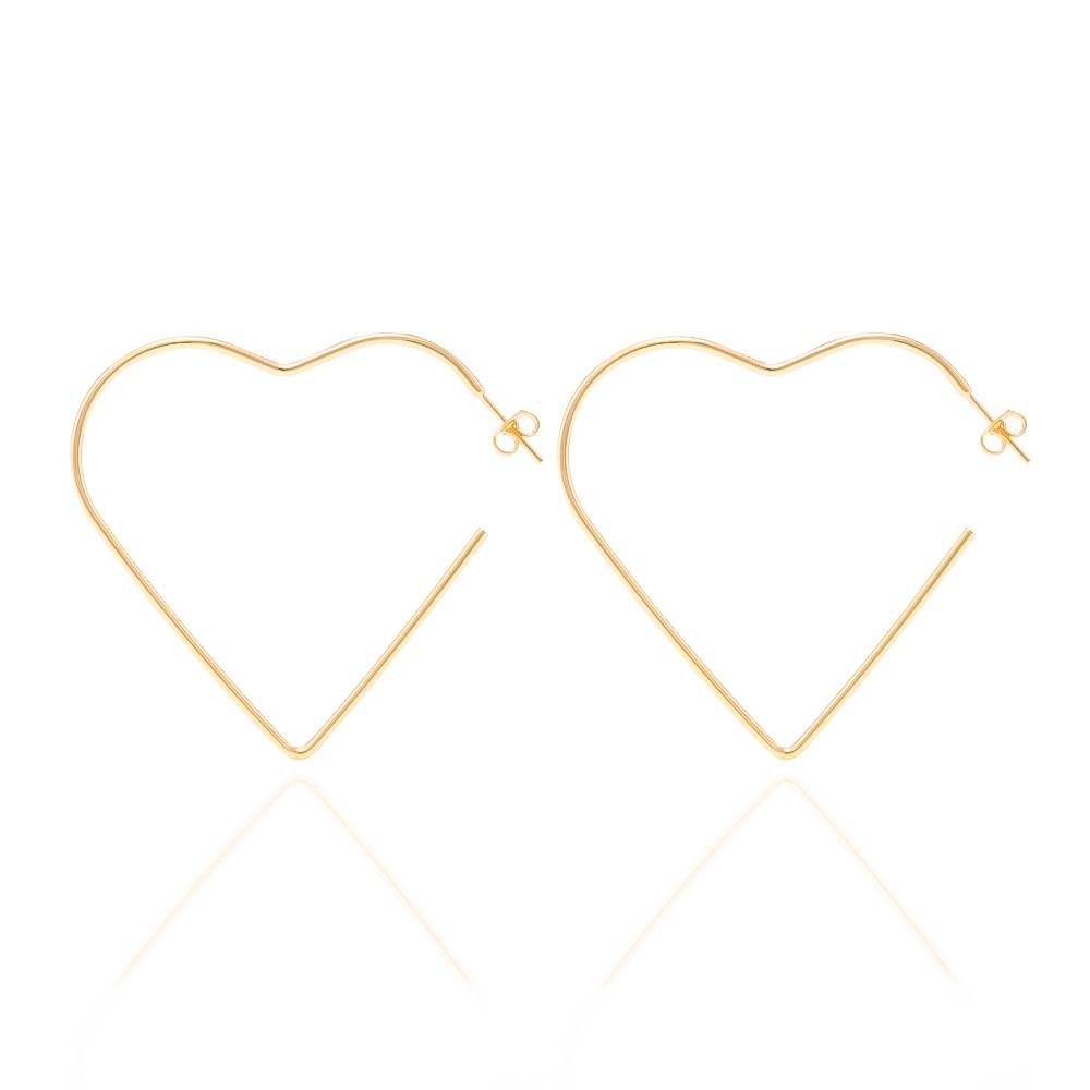 Brinco de Argola com Formato de Coração G Folheado em Ouro 18k - Giro Semijoias