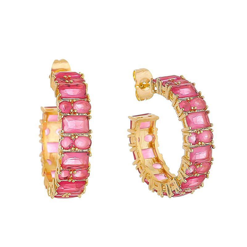Brinco de Argola com Navetes em Cristal Rosa Folheado em Ouro 18k - Giro Semijoias