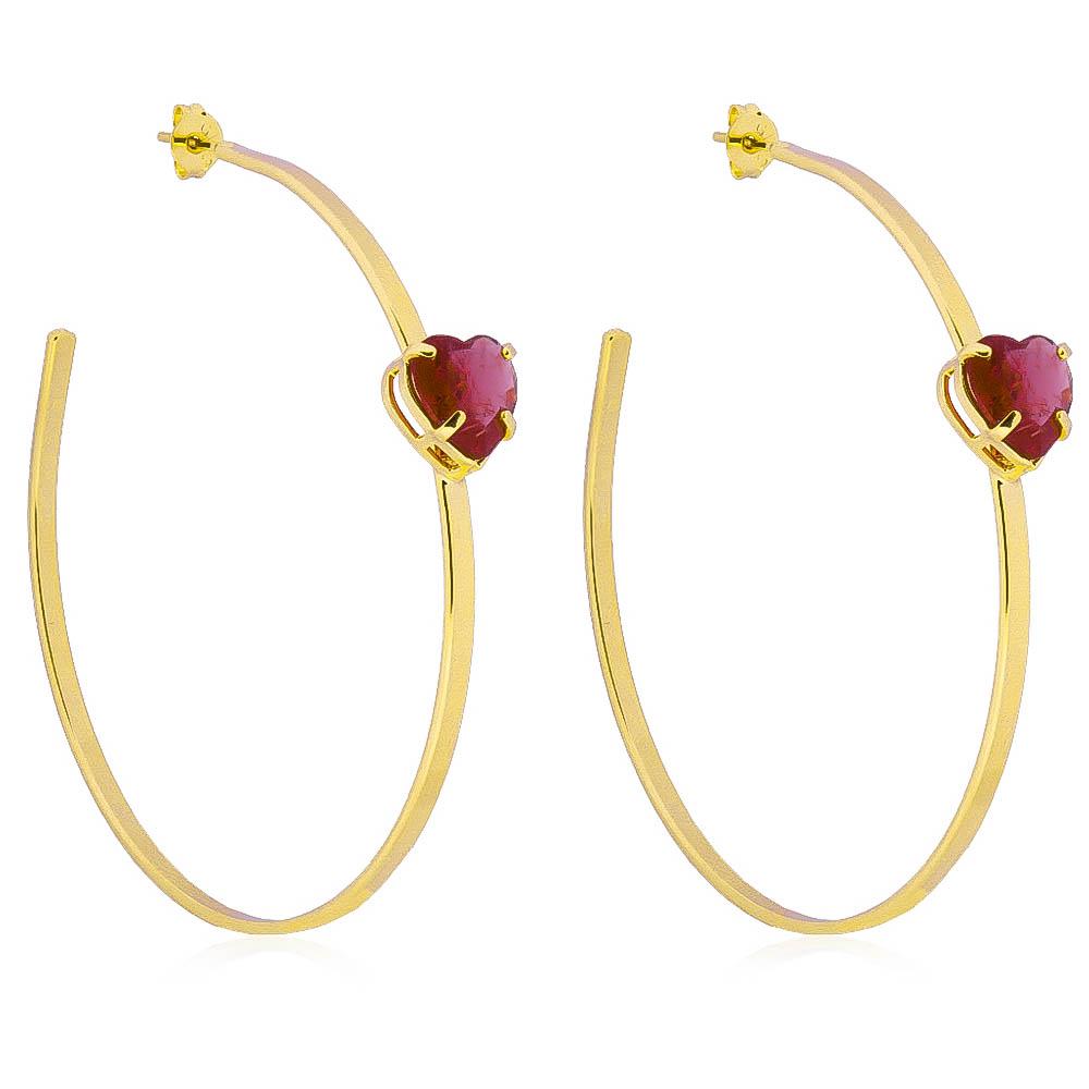 Brinco de Argola com Pedra de Coração Rosa em Cristal Folheado em Ouro 18k