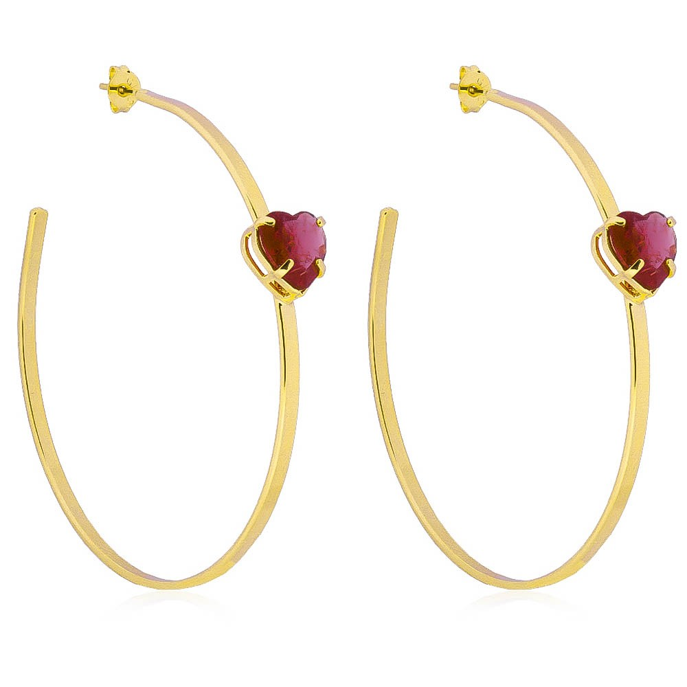 Brinco de Argola com Pedra de Coração Rosa em Cristal Folheado em Ouro 18k - Giro Semijoias