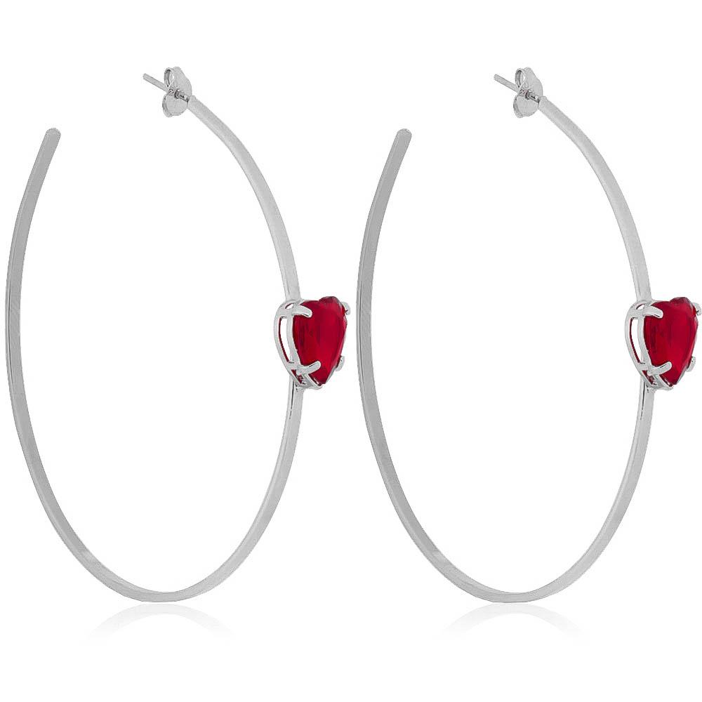 Brinco de Argola com Pedra de Coração Vermelho em Cristal Folheado Ródio Branco