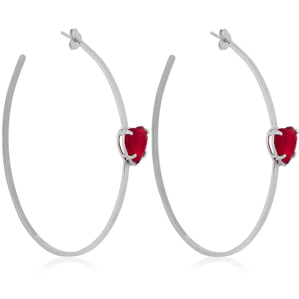 Brinco de Argola com Pedra de Coração Vermelho em Cristal Folheado Ródio Branco - Giro Semijoias