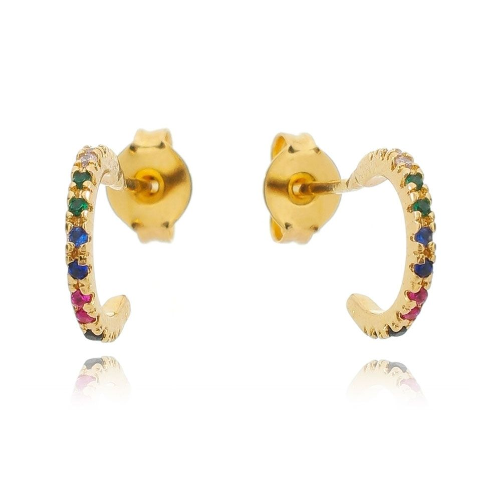 Brinco de Argola com Pedras Zircônias Coloridas Ouro 18k - Giro Semijoias