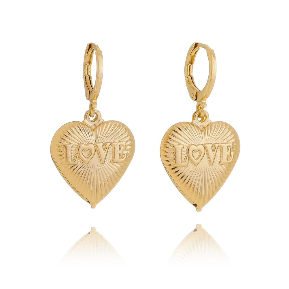 Brinco de Argola Coração Love Texturizado Folheado em Ouro 18k