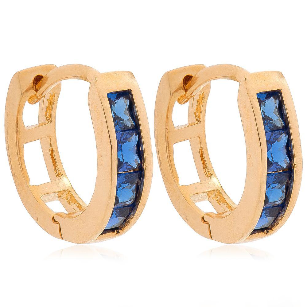Brinco de Argola Cravejado com 1 Fila de Zircônias Azul Folheado em Ouro 18k
