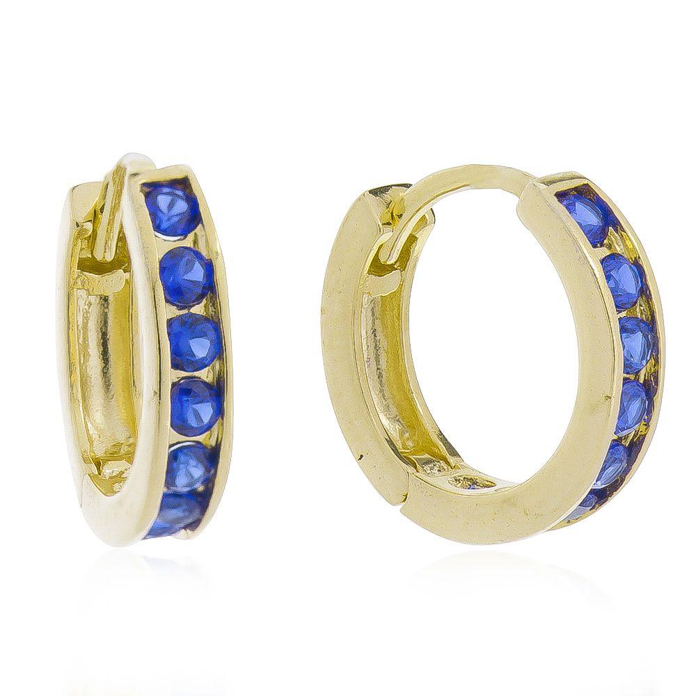 Brinco de Argola Cravejado com 1 Fila de Zircônias Azul Folheado em Ouro 18k - Giro Semijoias