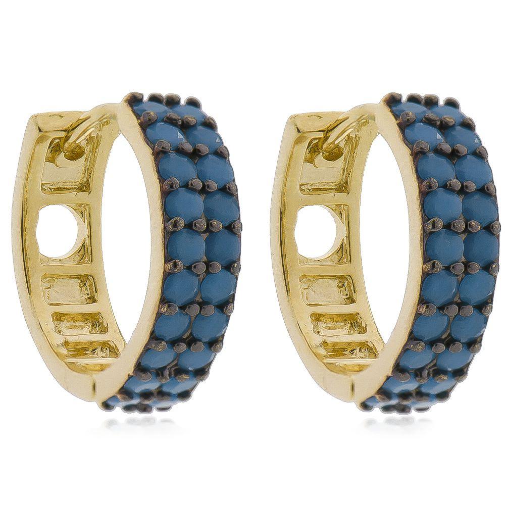 Brinco de Argola Cravejado com 2 Filas de Zircônia Azul Claro Folheado em Ouro 18k