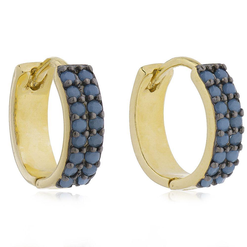 Brinco de Argola Cravejado com 2 Filas de Zircônia Azul Claro Folheado em Ouro 18k - Giro Semijoias
