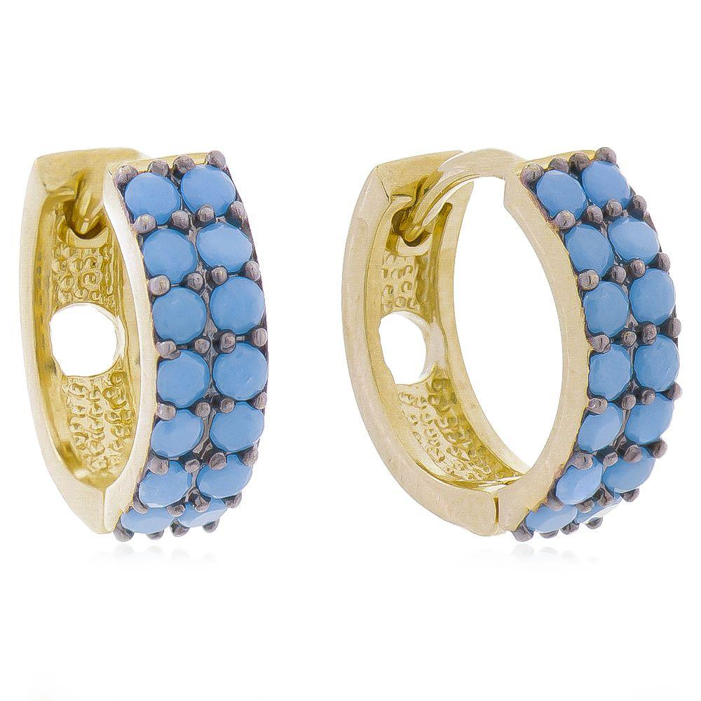 Brinco de Argola Cravejado com 2 Filas de Zircônias Azul Claro Folheado em Ouro 18k