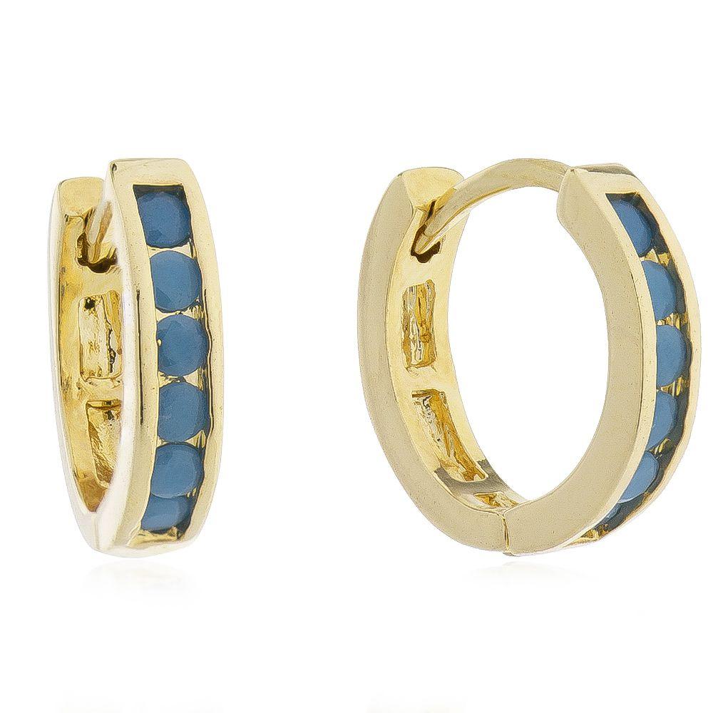 Brinco de Argola Cravejado com 6 Zircônias Azul Claro Folheado em Ouro 18k