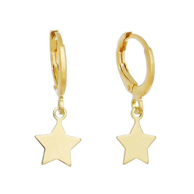 Brinco de Argola Estrela Lisa Folheado em Ouro 18k - Giro Semijoias