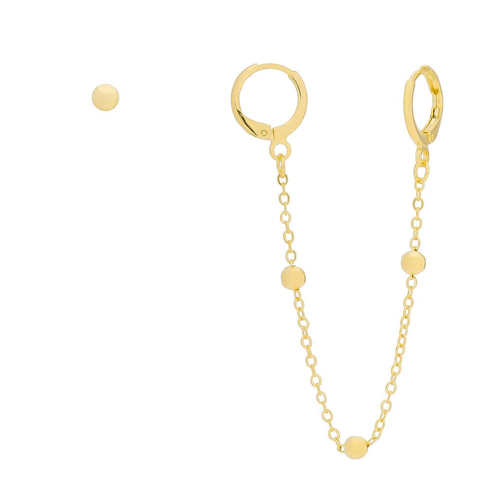 Brinco de Argola Fechada Ear Cuff com Piercing e Brinco de Bola Folheado em Ouro 18k