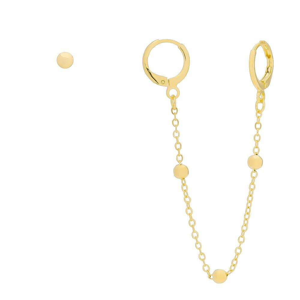 Brinco de Argola Fechada Ear Cuff com Piercing e Brinco de Bola Folheado em Ouro 18k - Giro Semijoias