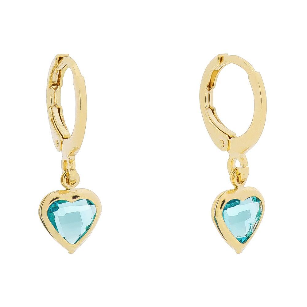 Brinco de Argola Pingente de Coração em Zircônia Azul Folheado em Ouro 18k - Giro Semijoias