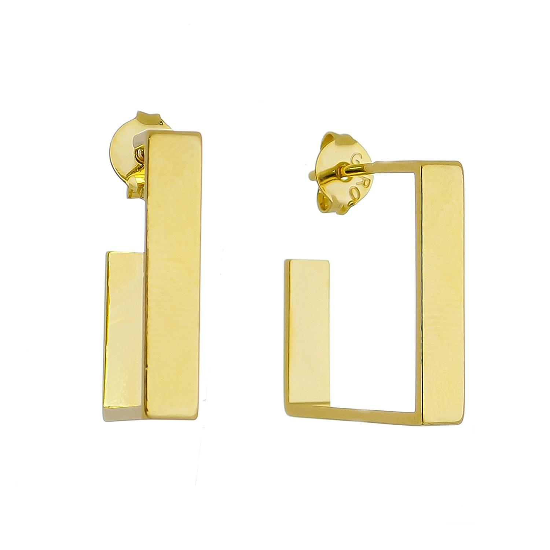 Brinco de Argola Quadrado Aberta M Folheado em Ouro 18k