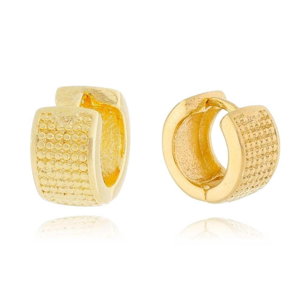 Brinco de Argola Textura G Folheado em Ouro 18k - Giro Semijoias
