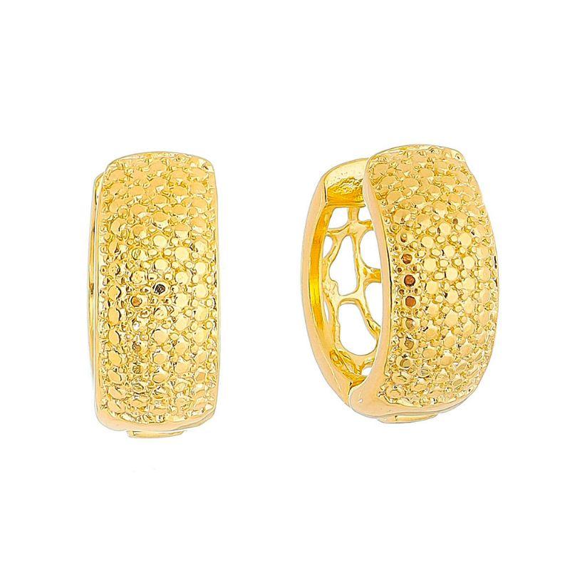 Brinco de Argola Texturizado Vazado Atrás Folheado em Ouro 18k - Giro Semijoias