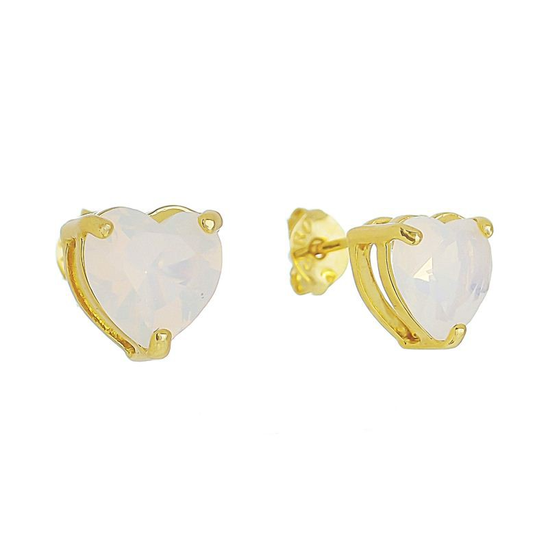 Brinco de Coração com Pedra em Cristal Gelo Folheado em Ouro 18k - Giro Semijoias
