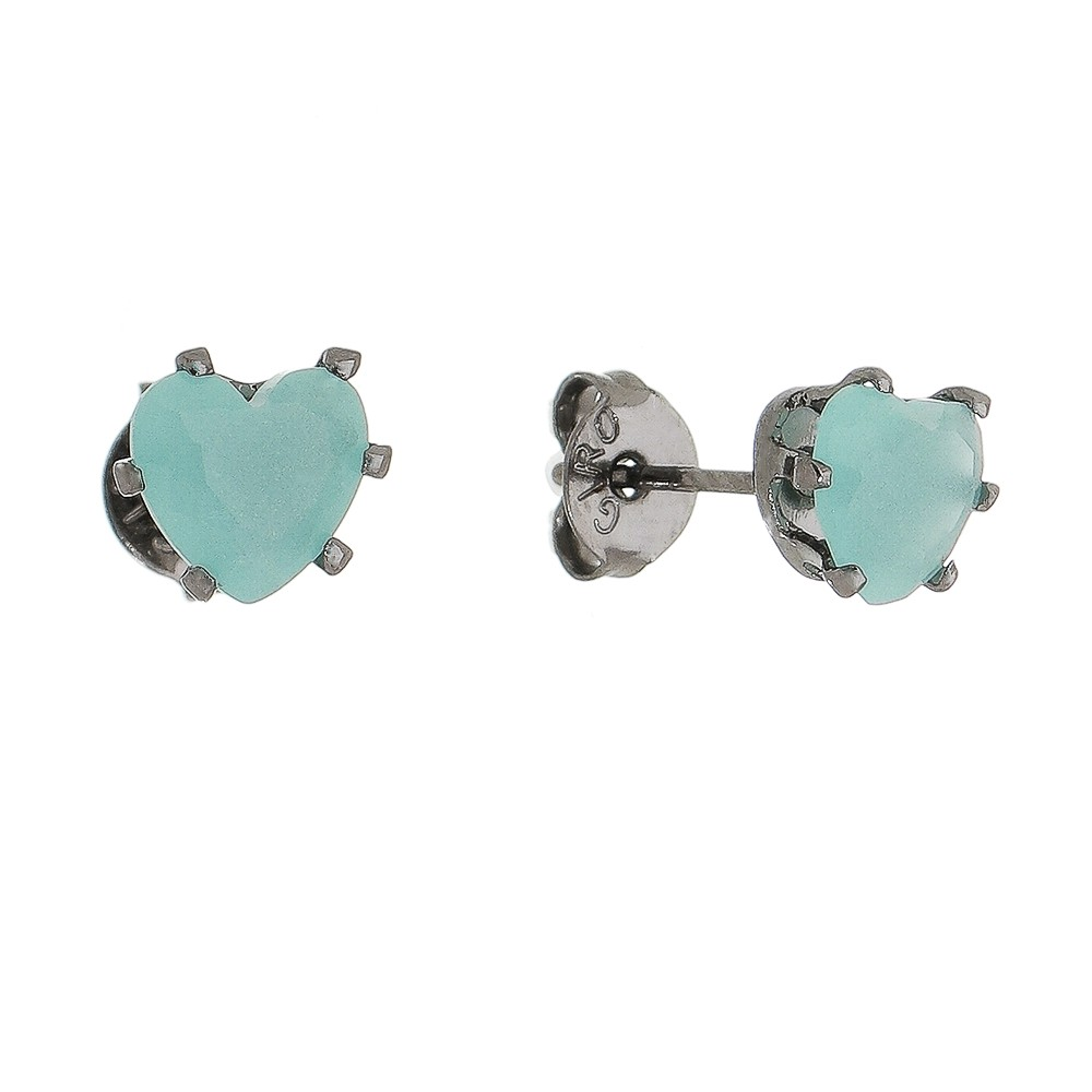 Brinco de Coração com Pedra em Cristal Verde Água P Folheado Ródio Negro - Giro Semijoias