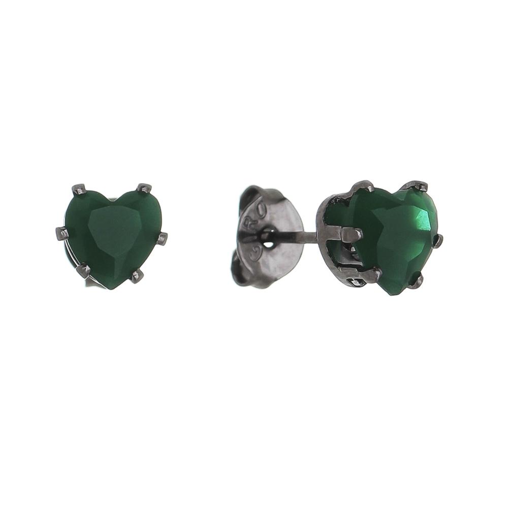 Brinco de Coração com Pedra em Cristal Verde P Folheado Ródio Negro