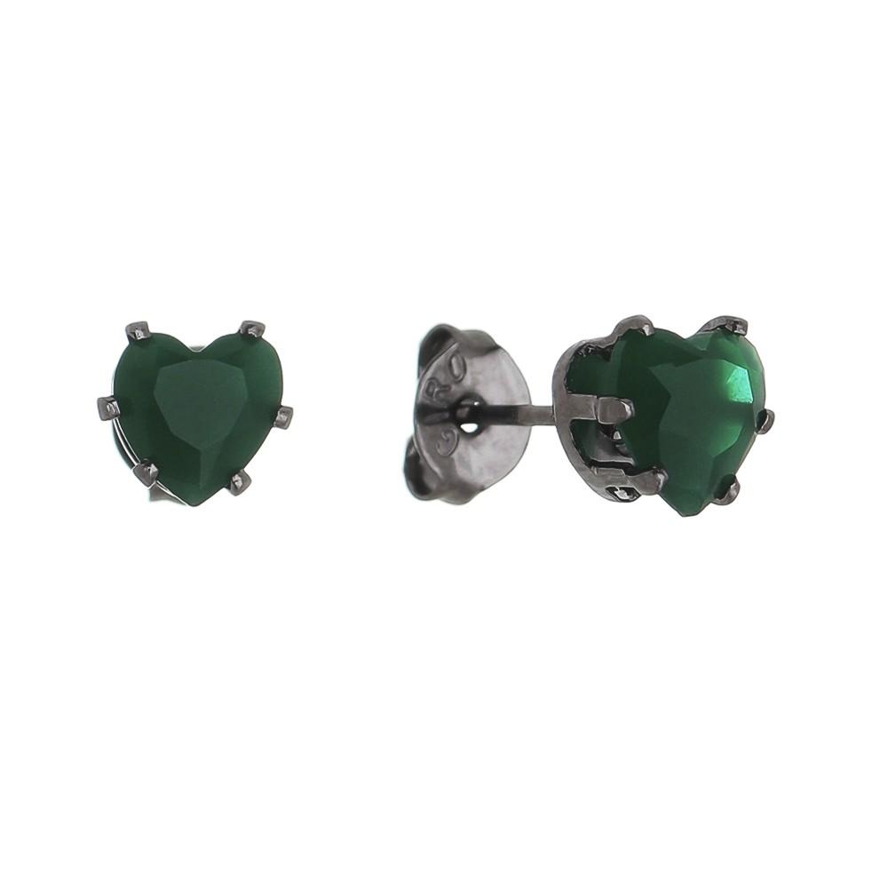 Brinco de Coração com Pedra em Cristal Verde P Folheado Ródio Negro - Giro Semijoias