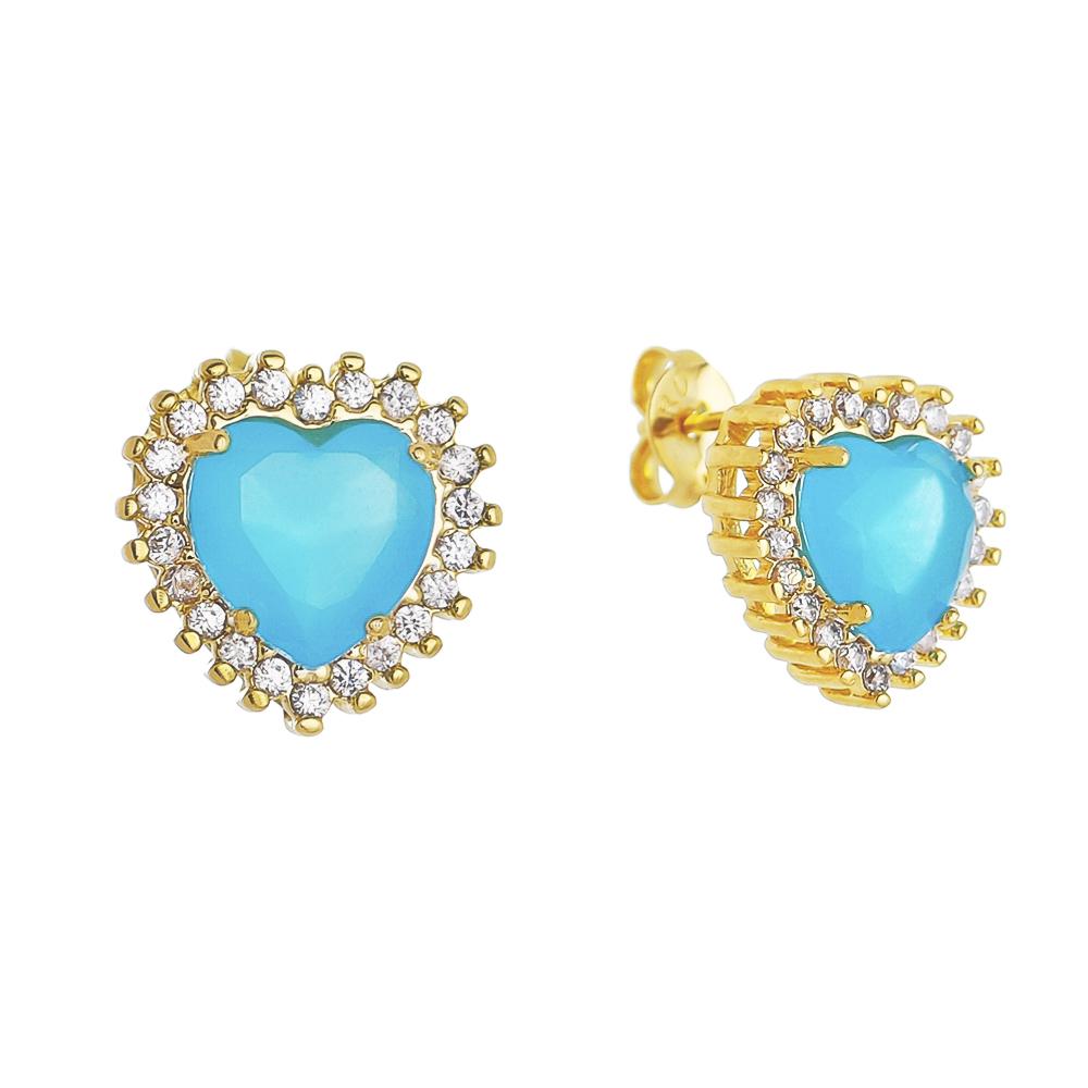 Brinco de Coração Cristal Azul e Zircônias Folheado em Ouro 18ks