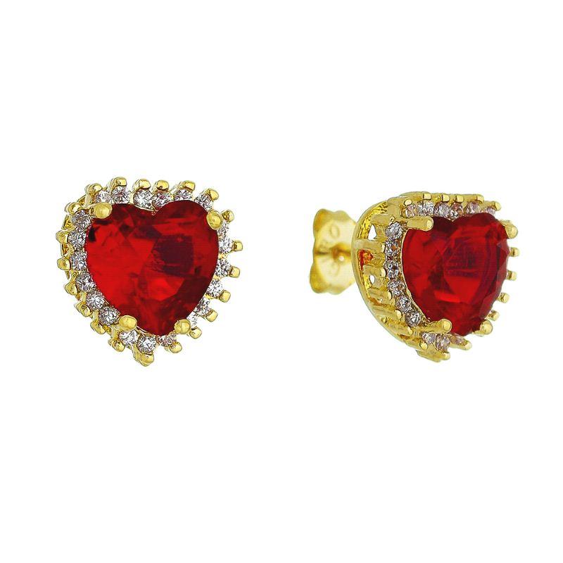 Brinco de Coração Cristal Vermelho e Zircônias Folheado em Ouro 18k