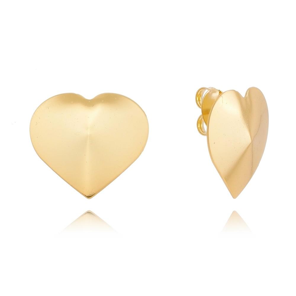 Brinco de Coração Folheado em Ouro 18k - Giro Semijoias