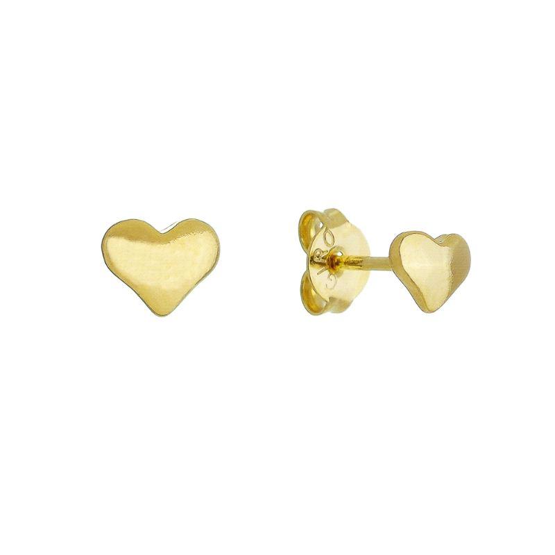 Brinco de Coração P Foheado em Ouro 18k