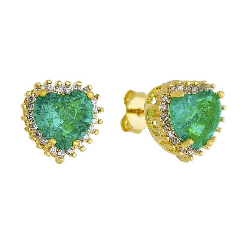 Brinco de Coração Pedra Fusion Verde Água e Zircônias Folheado em Ouro 18k