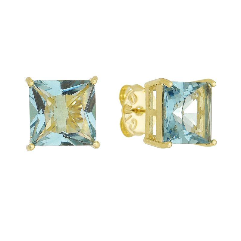 Brinco De Quadrado C/ Cristal P Ouro 18k