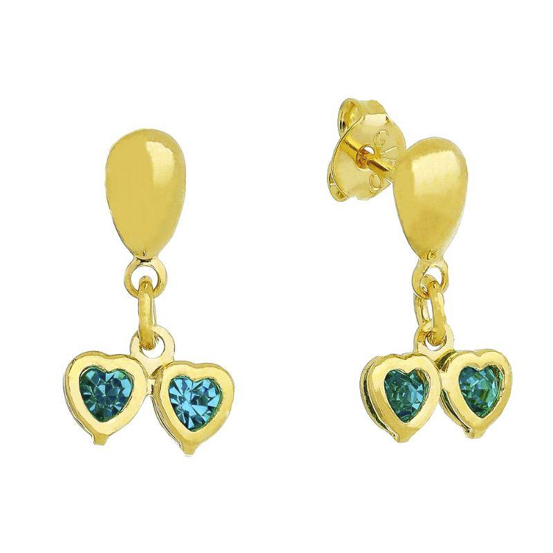 Brinco Dois Corações com Pedras em Zircônia Azul Folheado em Ouro 18k