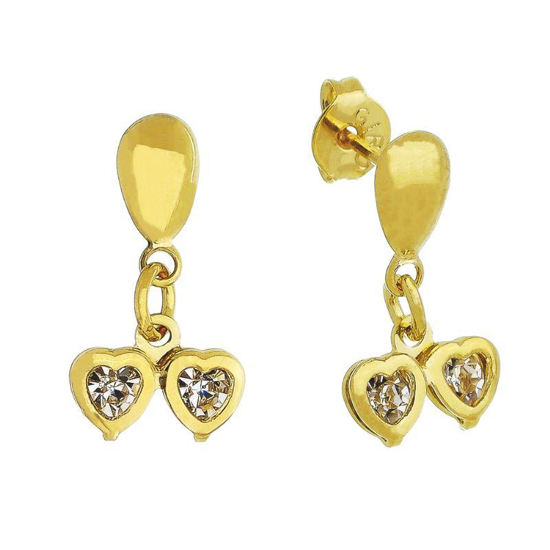 Brinco Dois Corações com Pedras em Zircônia Incolor Folheado em Ouro 18k - Giro Semijoias