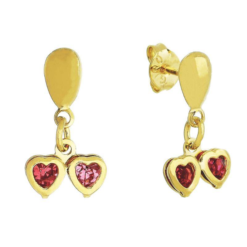 Brinco Dois Corações com Pedras em Zircônia Rosa Folheado em Ouro 18k