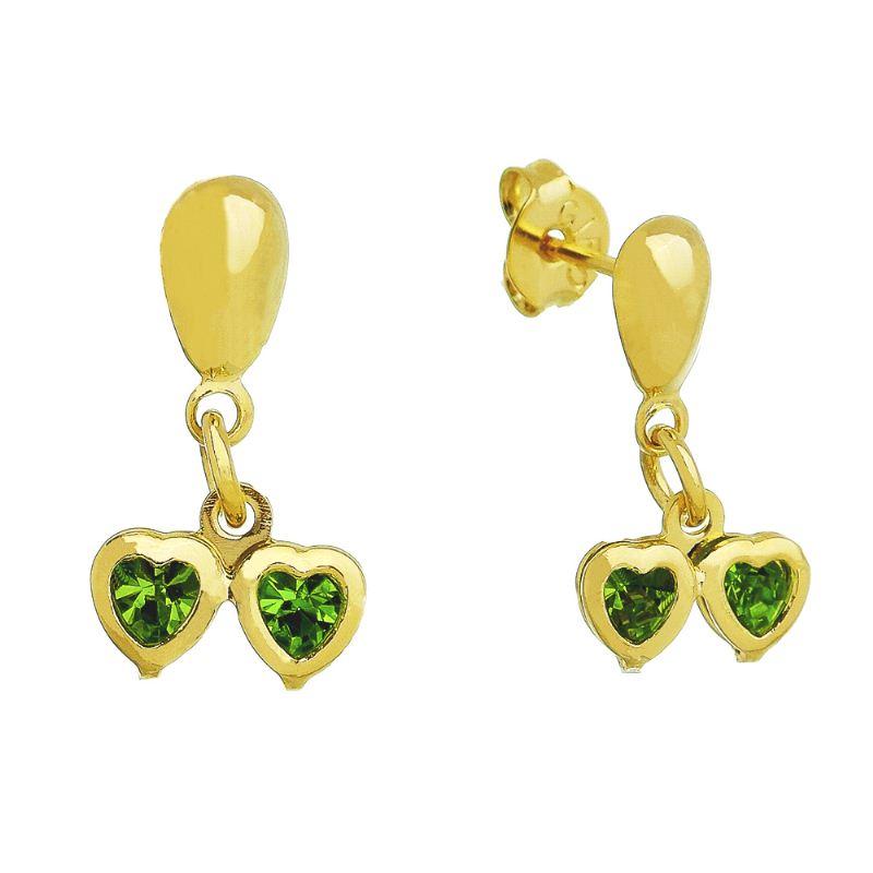 Brinco Dois Corações com Pedras em Zircônia Verde Folheado em Ouro 18k