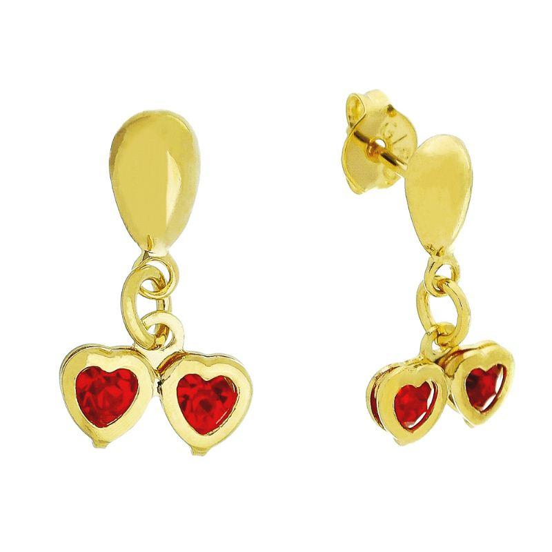 Brinco Dois Corações com Pedras em Zircônia Vermelho Folheado em Ouro 18k