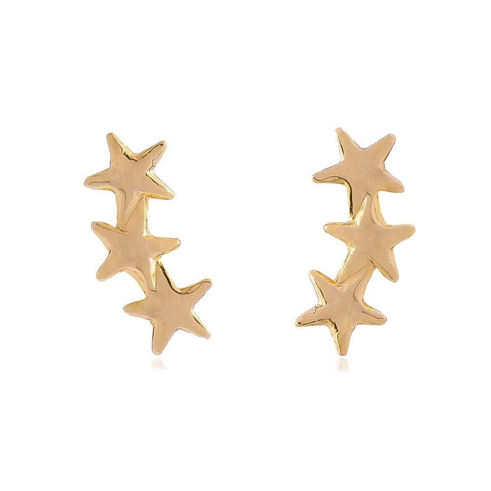 Brinco Ear Cuff 3 Estrelas P Folheado em Ouro 18k - Giro Semijoias