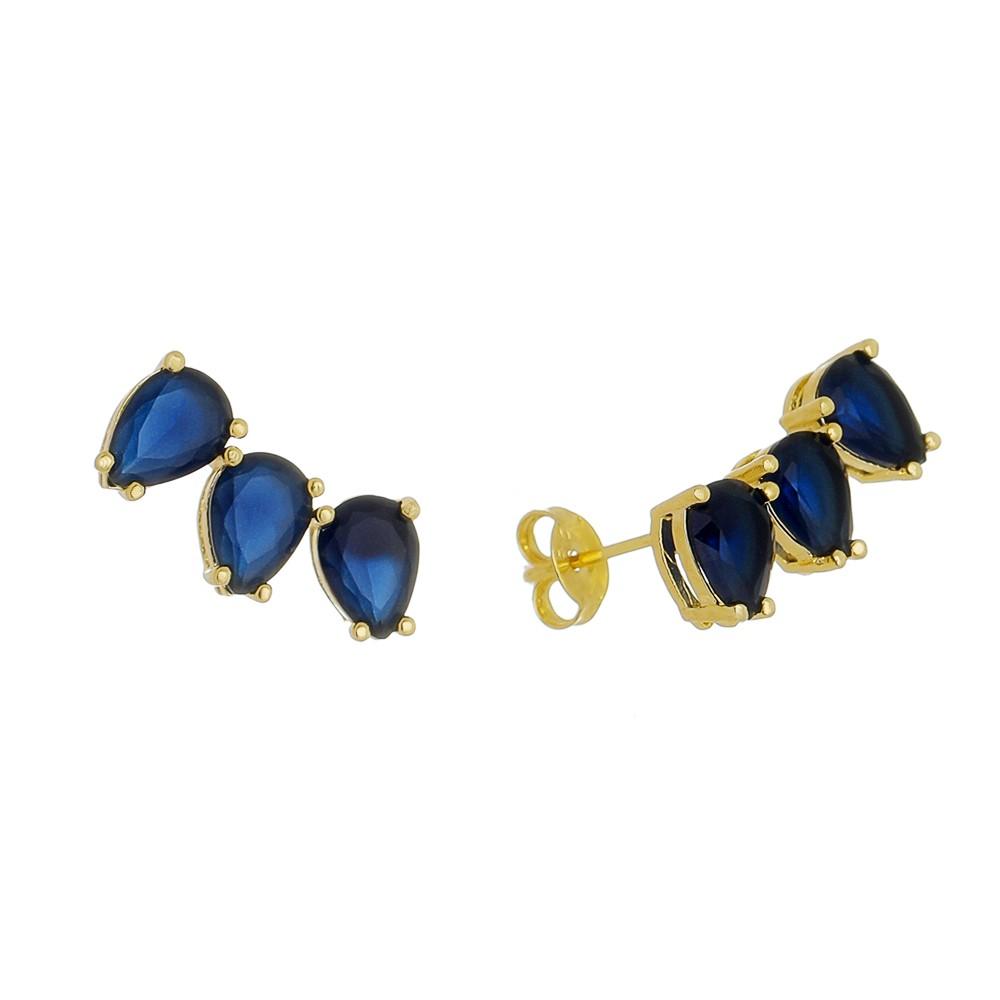Brinco Ear Cuff 3 Gotas Cristal Azul Folheado em Ouro 18k - Giro Semijoias