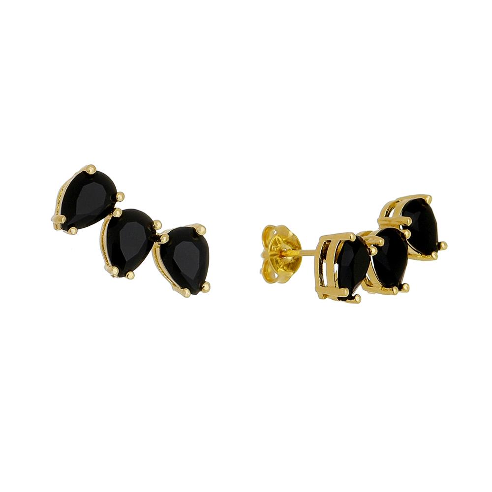 Brinco Ear Cuff 3 Gotas Cristal Preto Folheado em Ouro 18k
