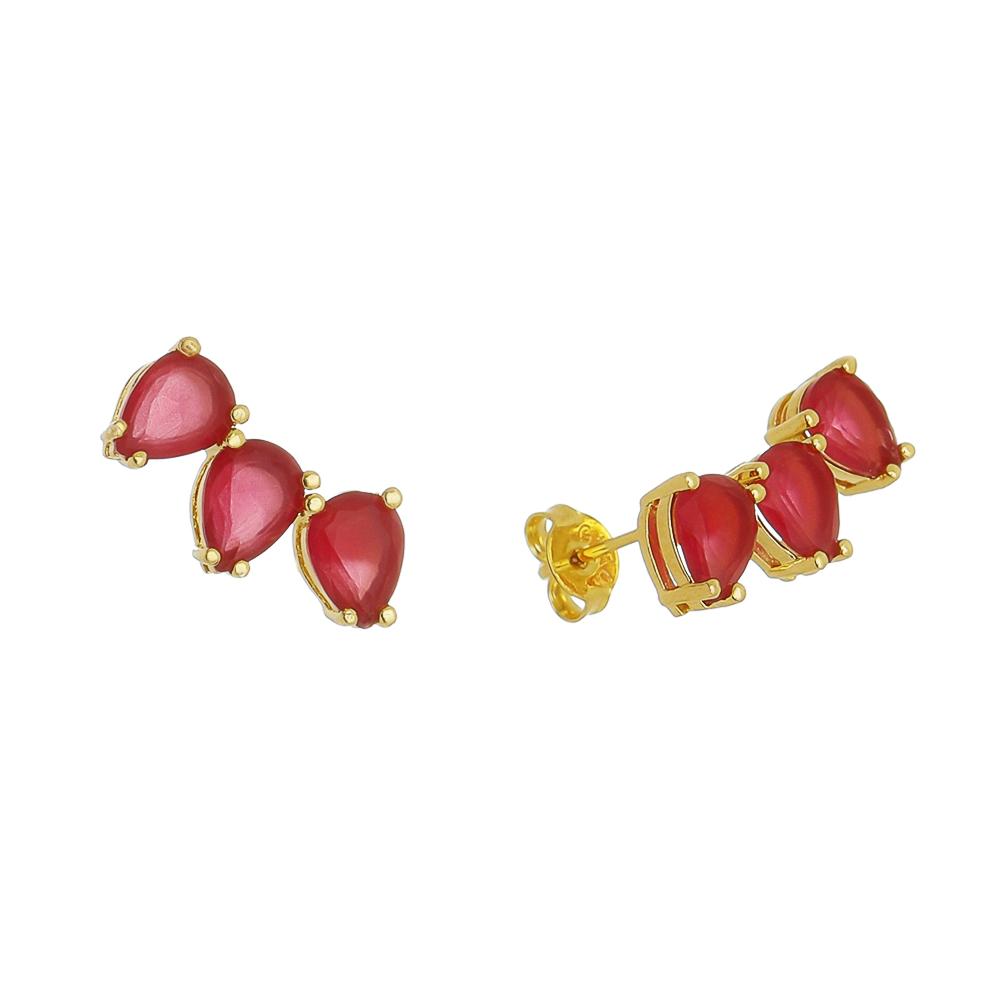 Brinco Ear Cuff 3 Gotas Cristal Vermelho Folheado em Ouro 18k