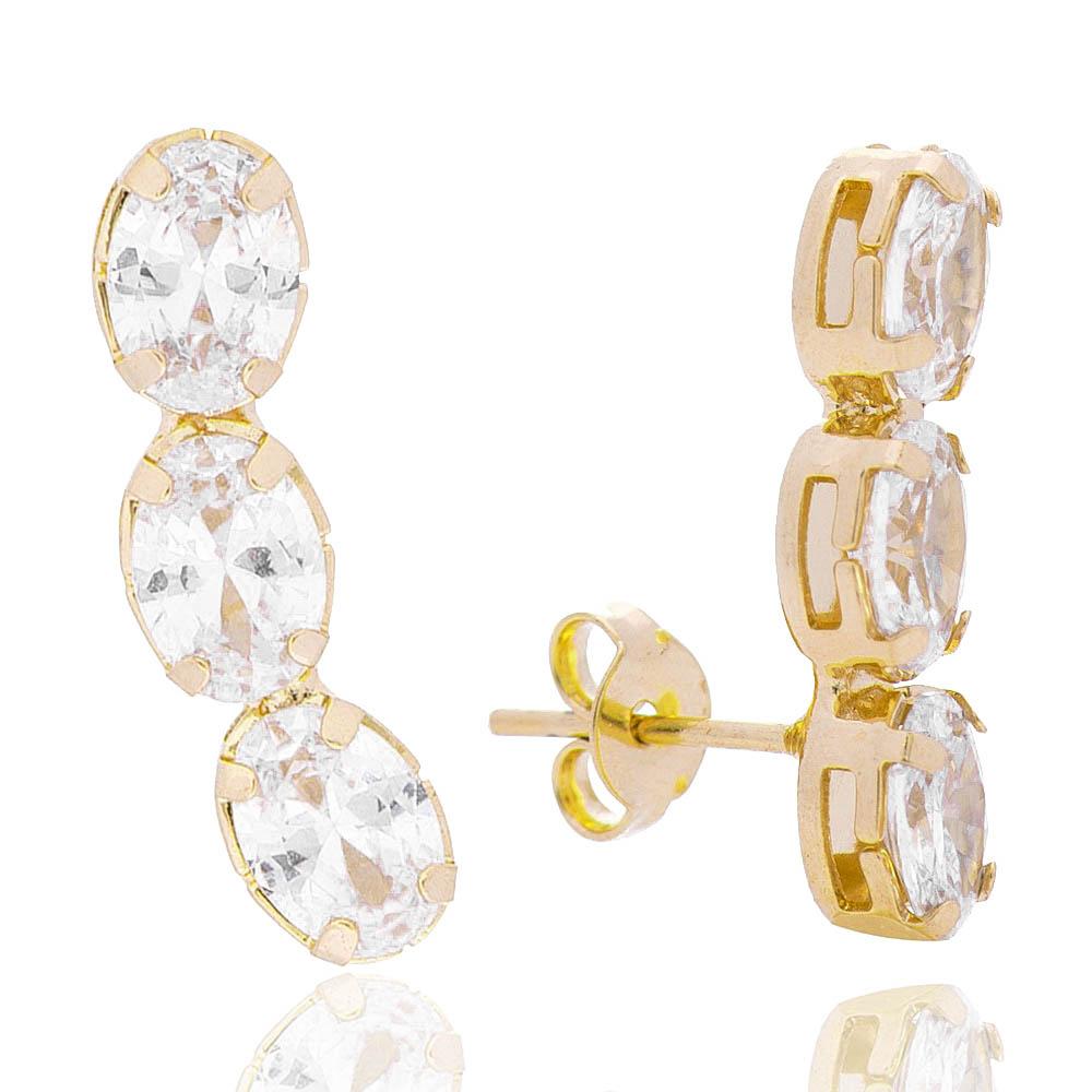 Brinco Ear Cuff 3 Ovais Cristal Incolor Folheado em Ouro 18k