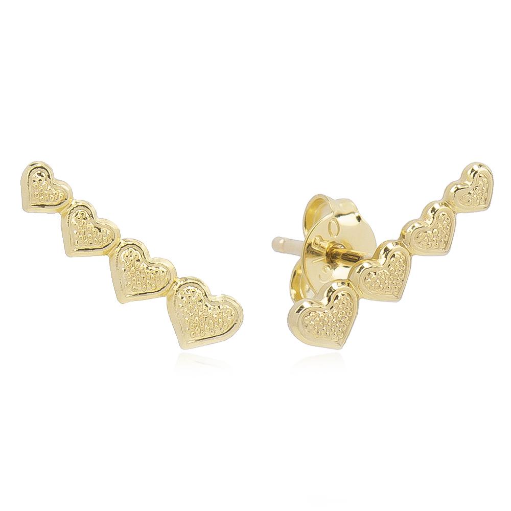 Brinco Ear Cuff 4 Corações Folheado em Ouro 18k