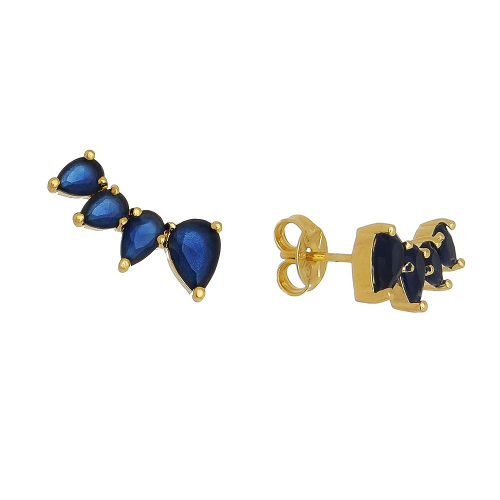 Brinco Ear Cuff 4 Gotas Cristal Azul Ouro 18k