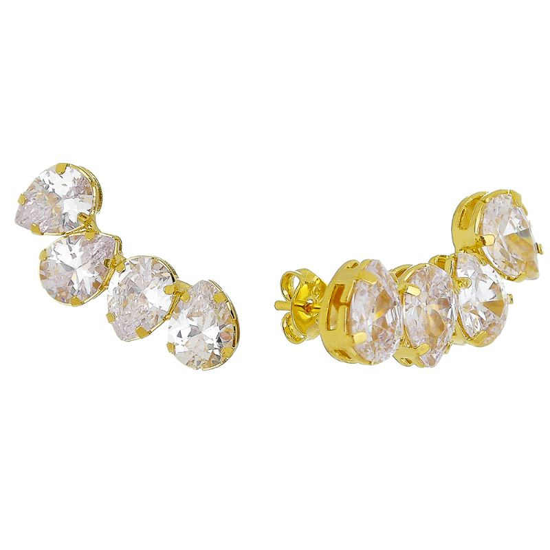 Brinco Ear Cuff 4 Gotas Cristal Incolor Folheado em Ouro 18k - Giro Semijoias