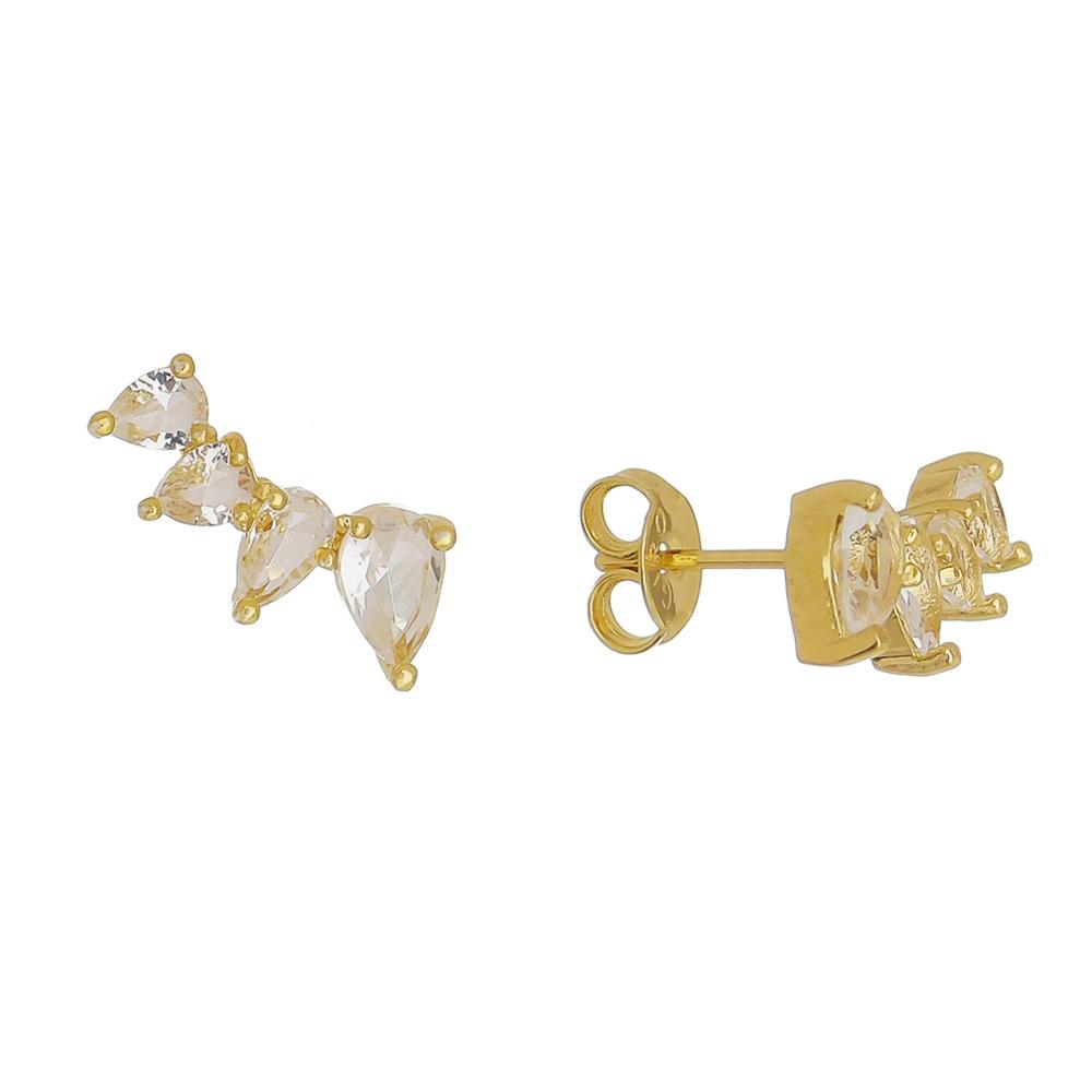 Brinco Ear Cuff 4 Gotas Cristal Incolor Ouro 18k