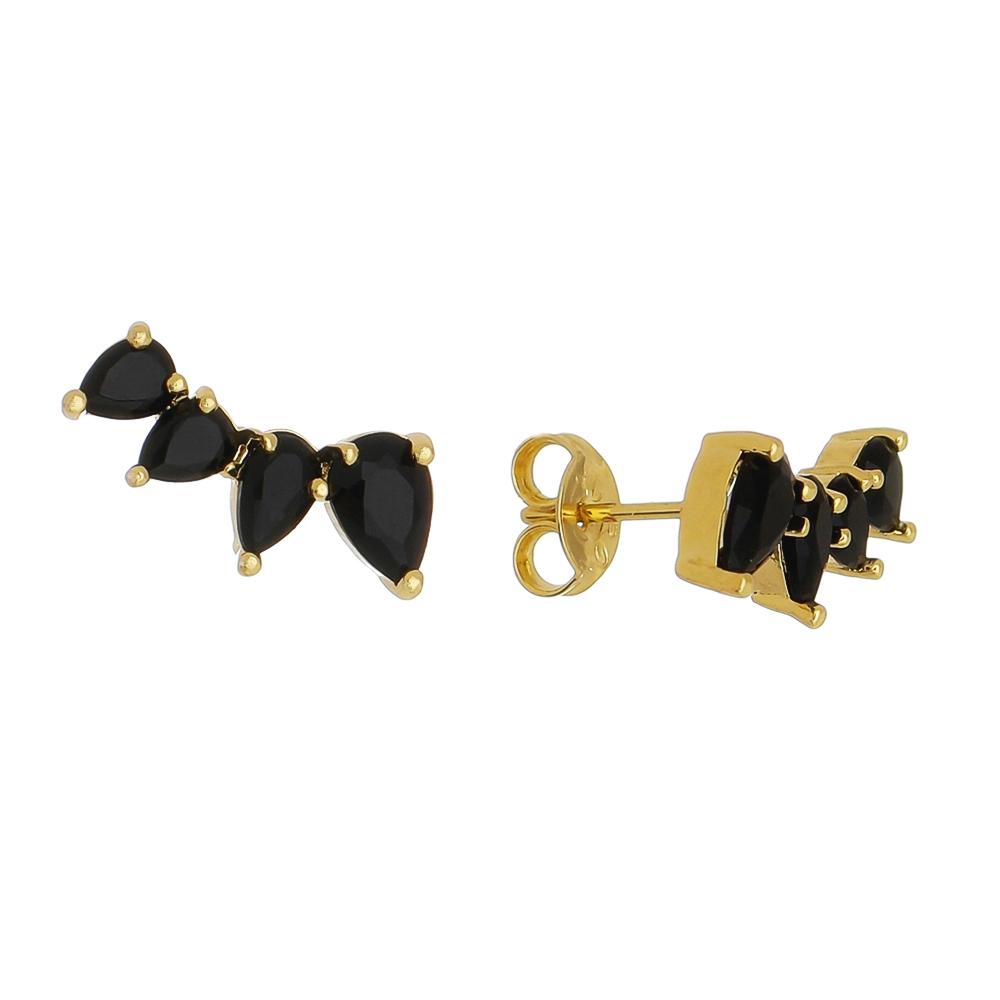 Brinco Ear Cuff 4 Gotas Cristal Preto Ouro 18k