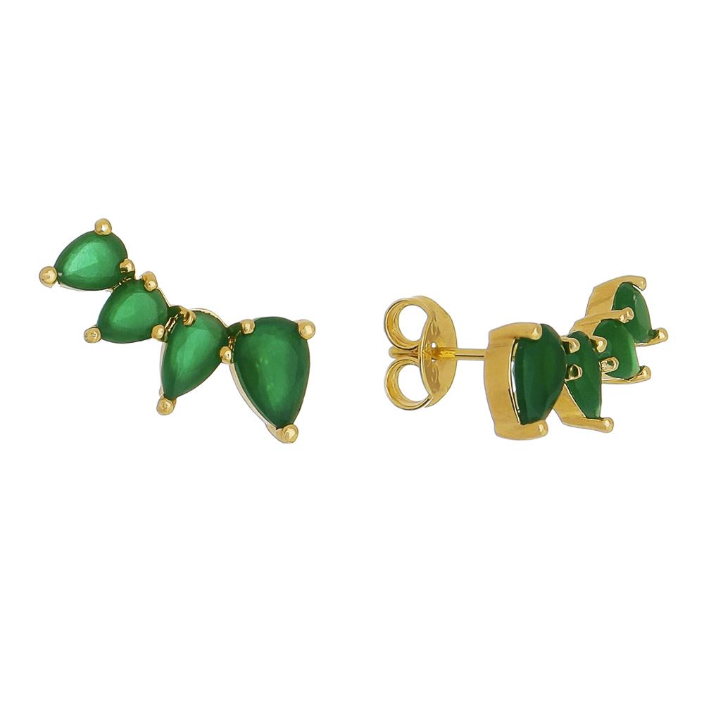 Brinco Ear Cuff 4 Gotas Cristal Verde Folheado em Ouro 18k