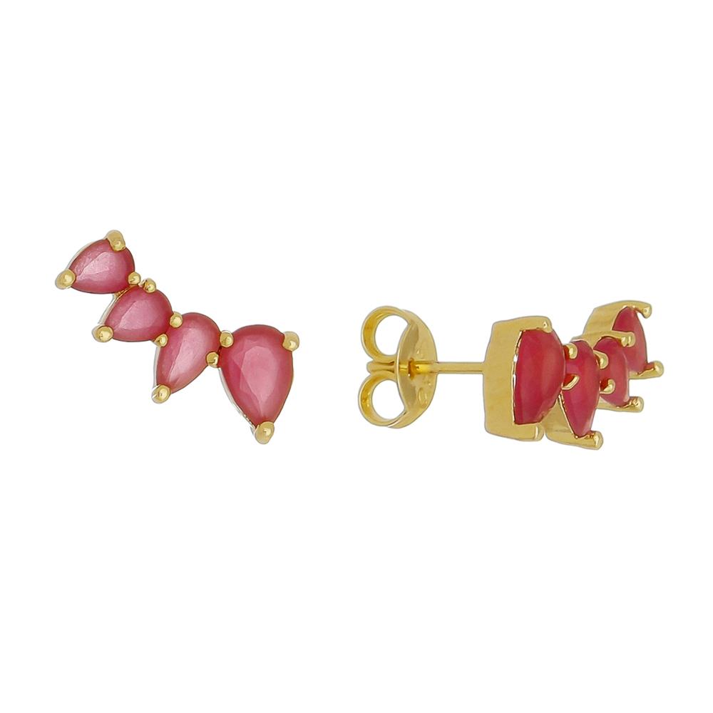 Brinco Ear Cuff 4 Gotas Cristal Vermelho Folheado em Ouro 18k