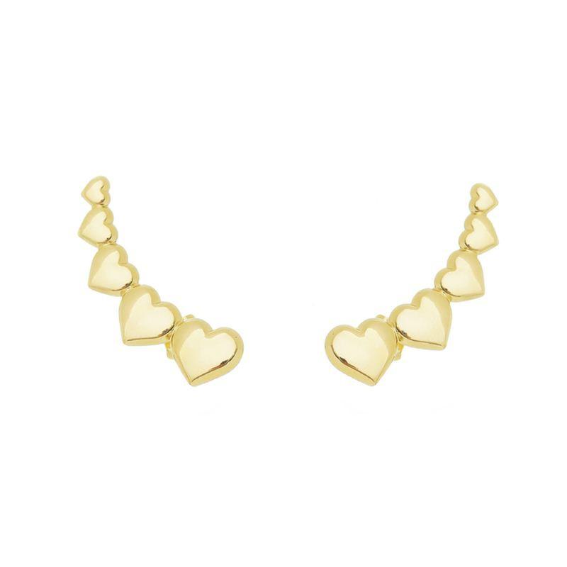Brinco Ear Cuff 5 Corações Ouro 18k- Giro Semijoias